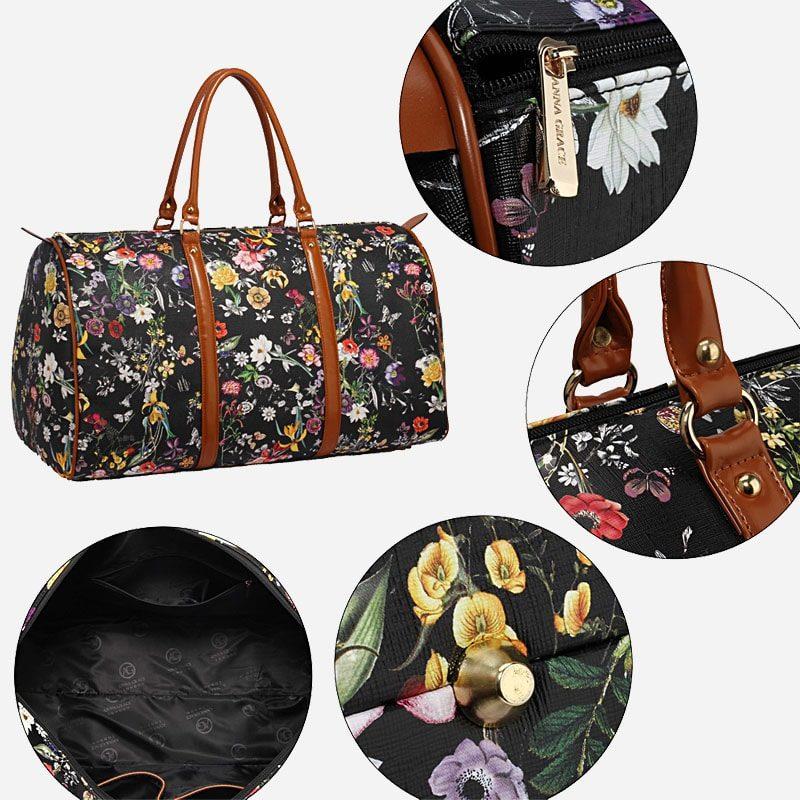 Détails du sac de voyage 48h noir en toile pour femme avec ornement et anses en cuir.