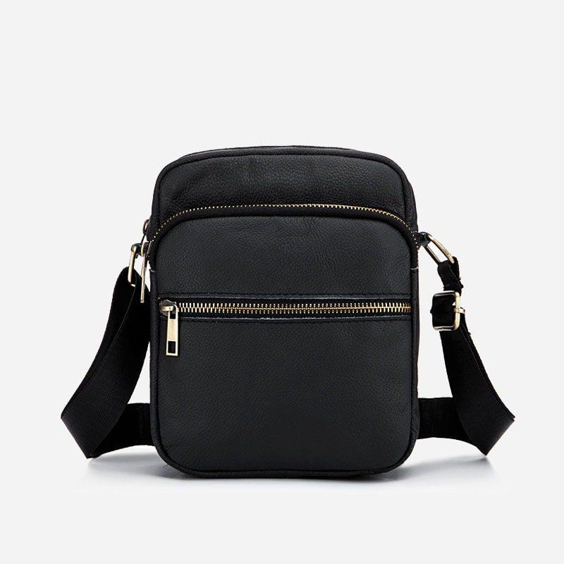 Petite sacoche bandoulière en cuir véritable noir pour homme.