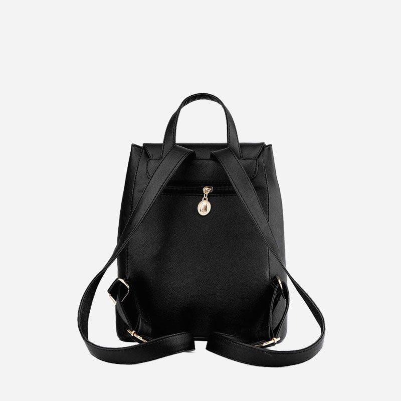Verso du sac à dos cuir texturé noir.