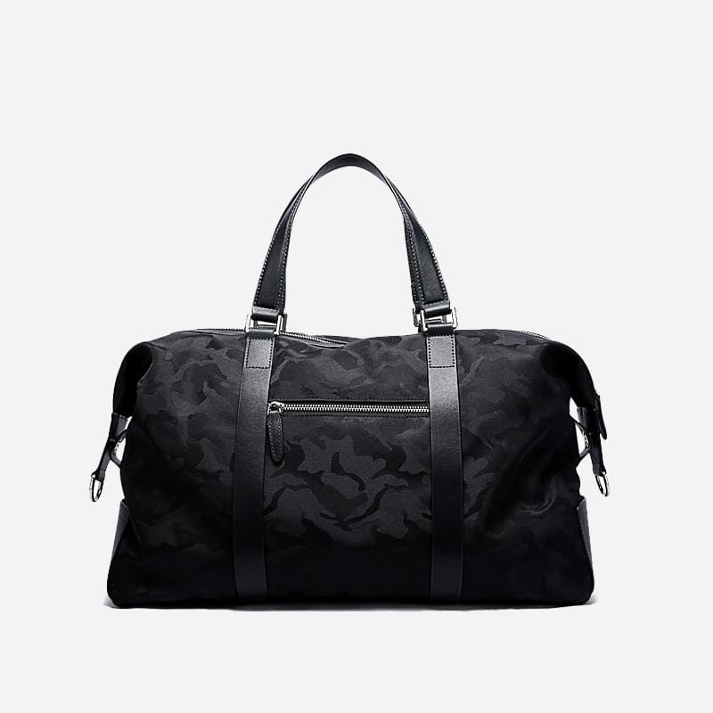 Sac à main et sacoche pour homme noir camouflage et noir militaire. Avec bandoulière. Bopaibag. Verso.