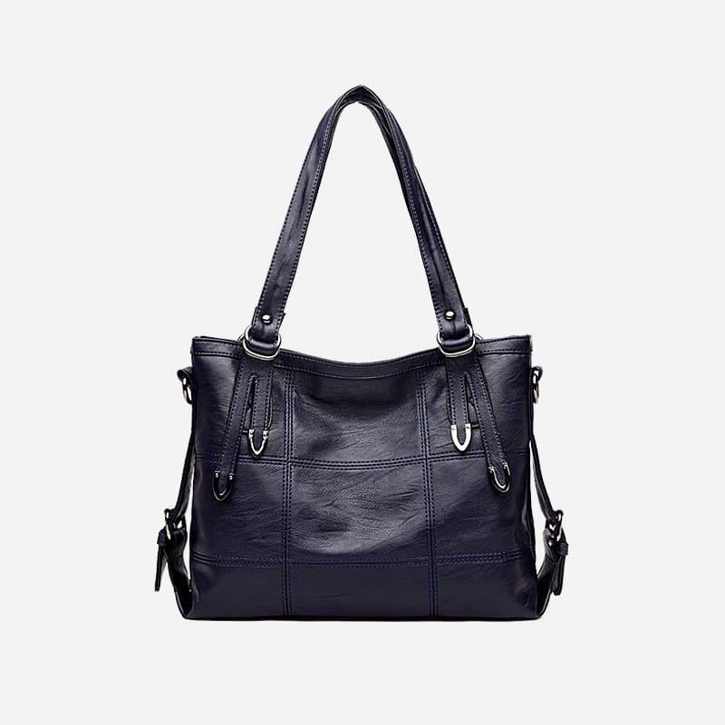 Sac bandoulière sac cabas pour femme en cuir bleu.
