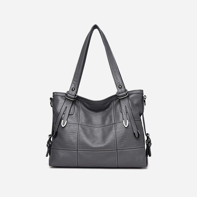 Sac bandoulière sac cabas pour femme en cuir gris.