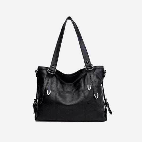 Sac bandoulière sac cabas pour femme en cuir noir.