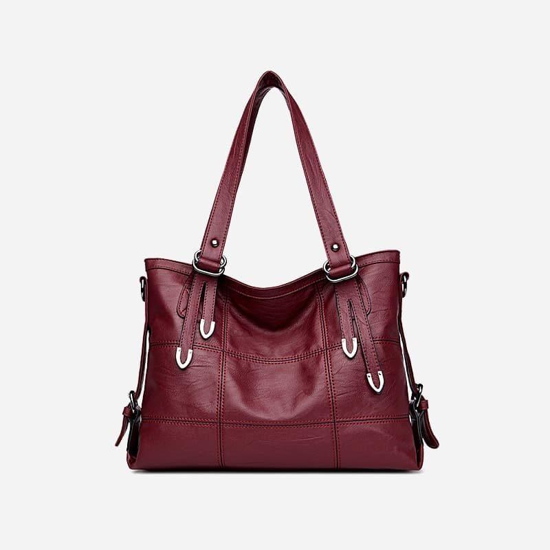 Sac bandoulière sac cabas pour femme en cuir rouge grenat.