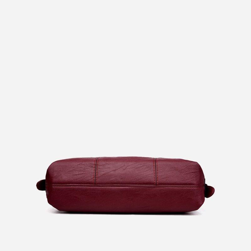 Sac bandoulière sac cabas pour femme en cuir rouge grenat. Dessous.