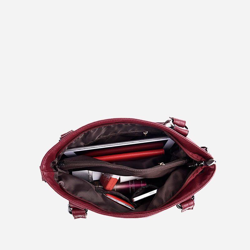 Sac bandoulière sac cabas pour femme en cuir rouge grenat. Intérieur.