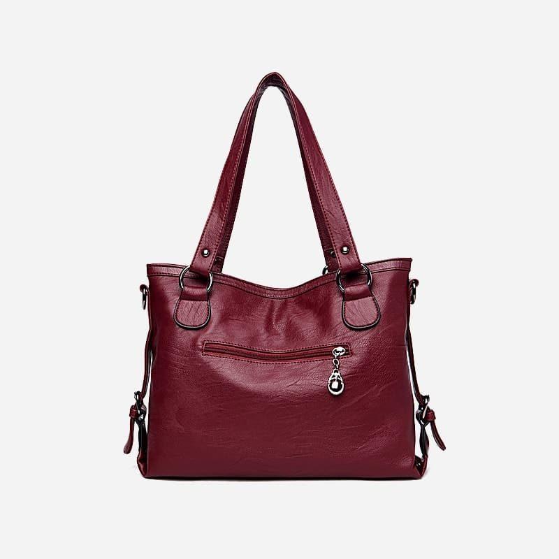 Sac bandoulière sac cabas pour femme en cuir rouge grenat. Verso.