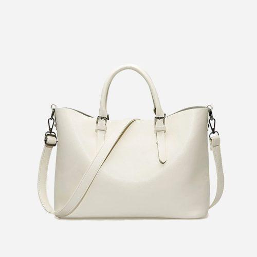 Sac à main bandoulière pour femme et sac cabas en cuir blanc cassé (crème).
