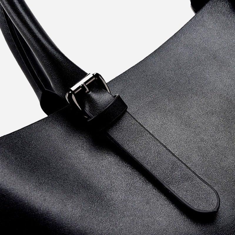 Sac à main bandoulière pour femme et sac cabas en cuir noir. Détails 2.