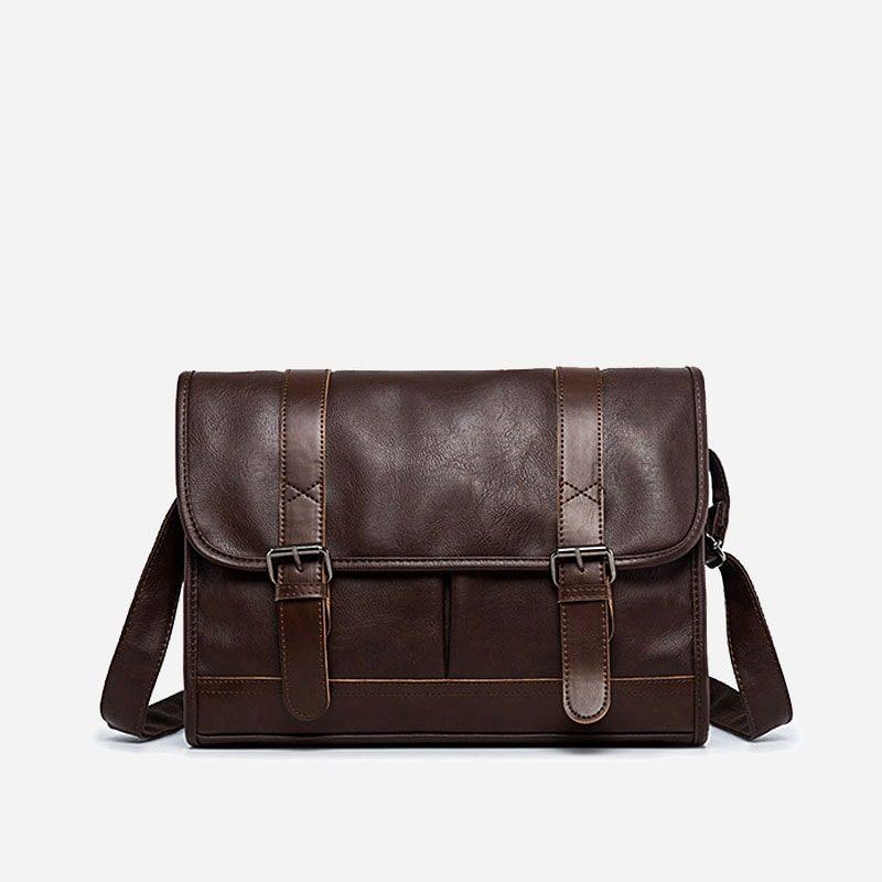 Sac besace bandoulière pour homme façon cartable et cuir brun.