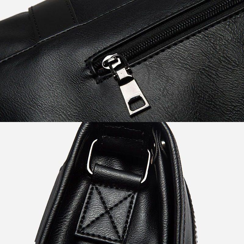 Détails de la besace bandoulière pour homme façon cartable et cuir noir.
