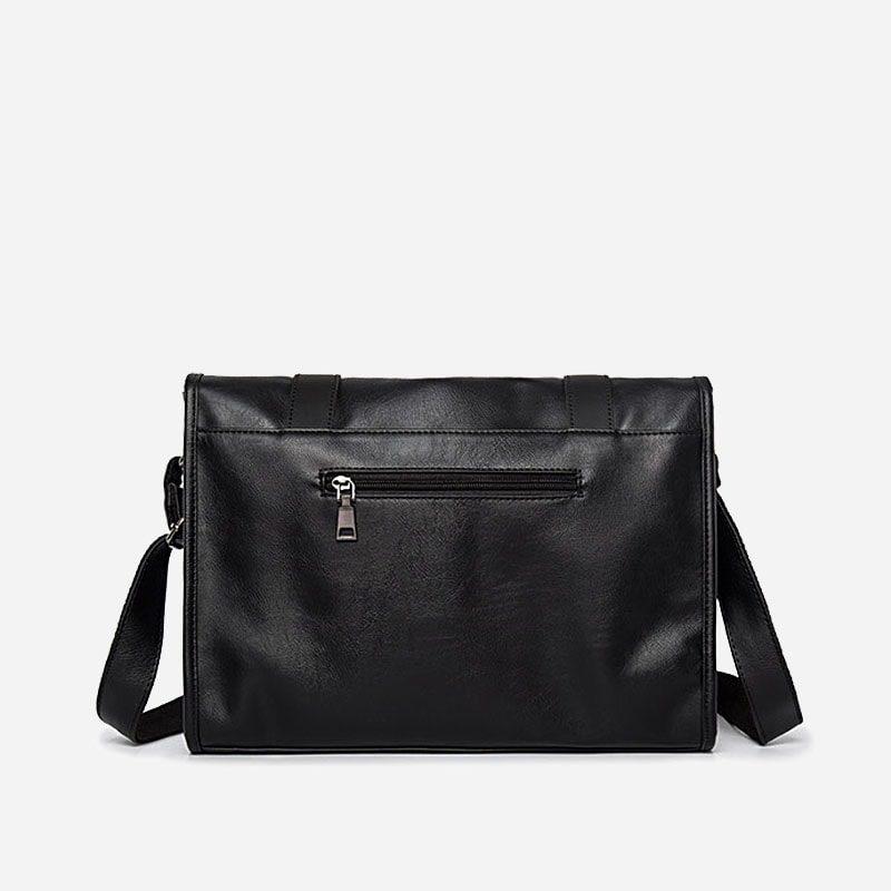 Verso du sac besace bandoulière pour homme façon cartable et cuir noir.