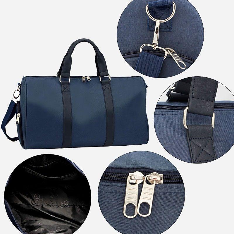 Détails du sac weekend 24h pour homme et femme en toile et en cuir de couleur bleu marine.
