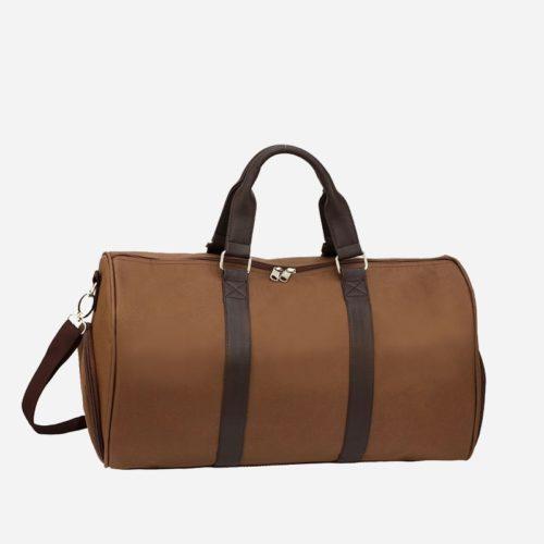 Sac weekend 24h pour homme et femme en toile et en cuir de couleur brun et marron.