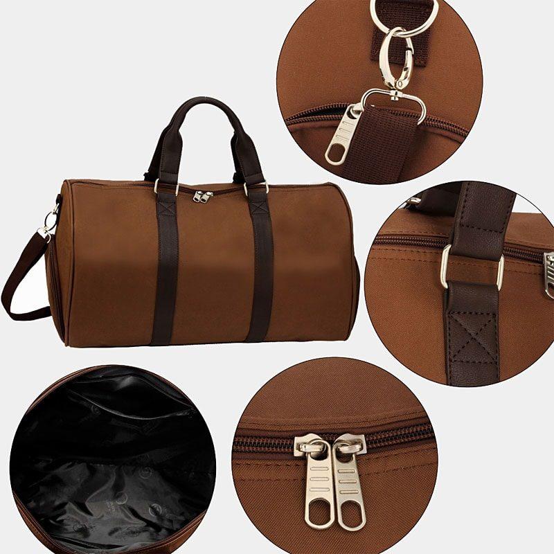 Détails du sac weekend 24h pour homme et femme en toile et en cuir de couleur brun et marron.