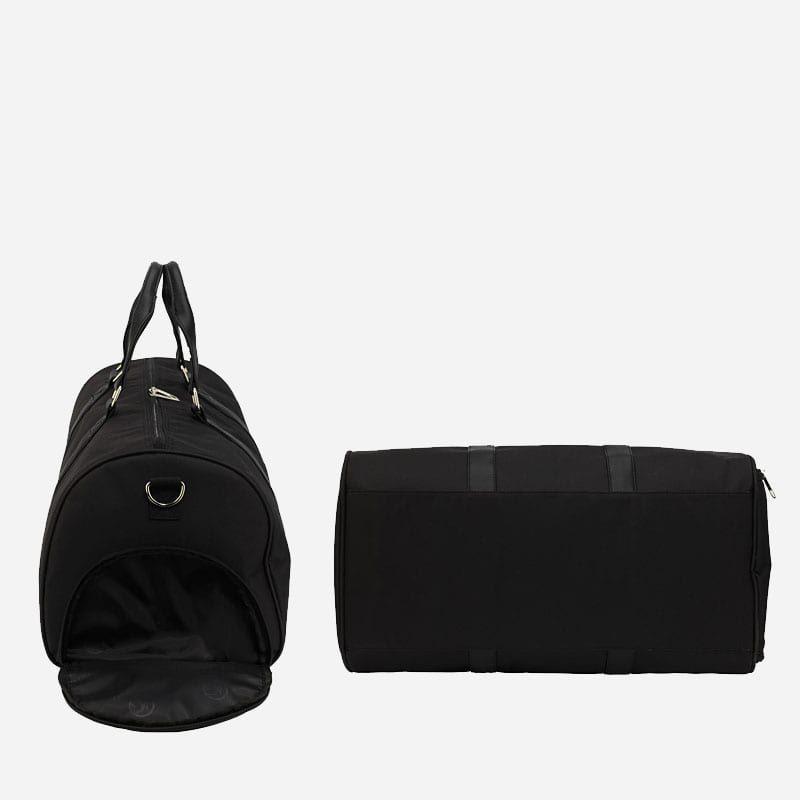 Côté et dessous du sac weekend 24h pour homme et femme en toile et en cuir de couleur noir.