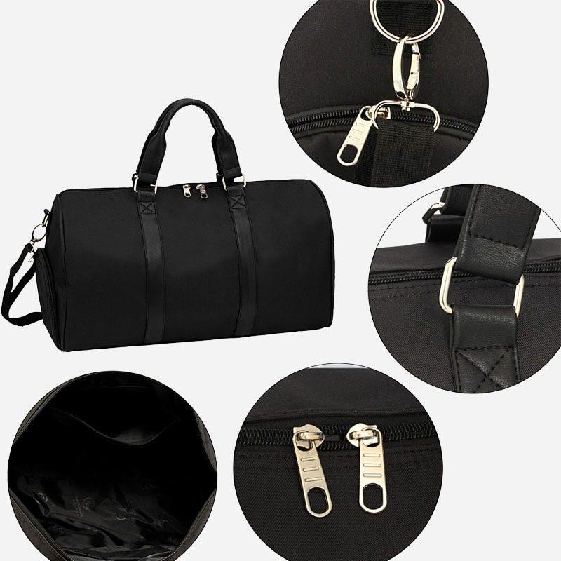 Détails du sac weekend 24h pour homme et femme en toile et en cuir de couleur noir.