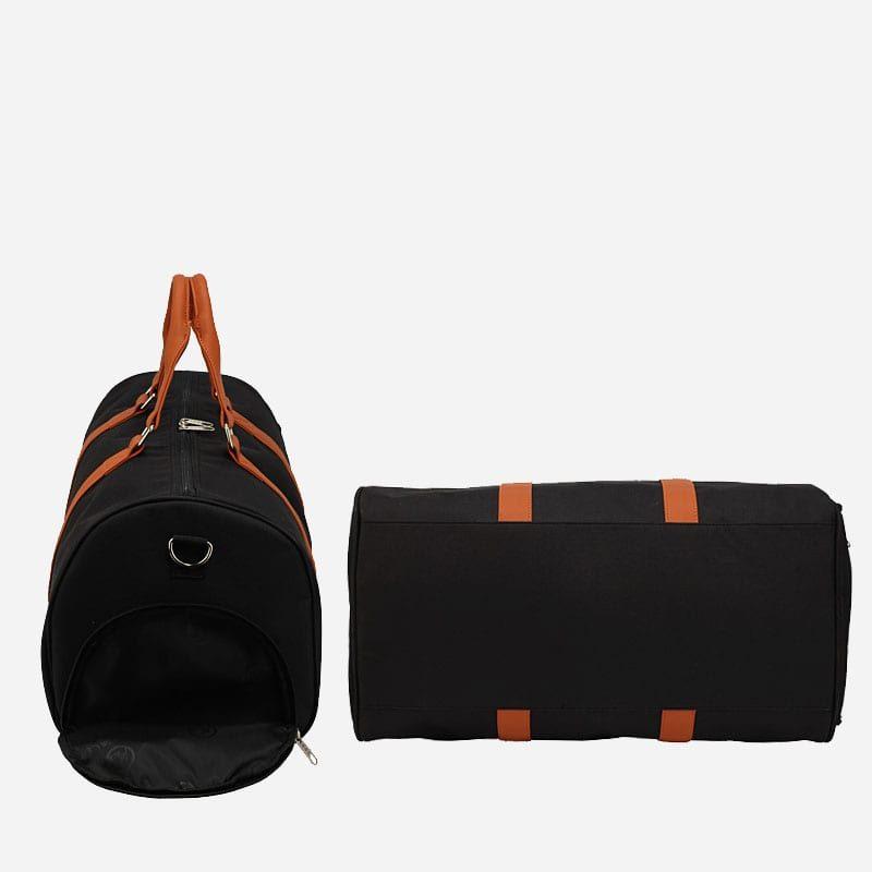 Côté et dessous du sac weekend 24h pour homme et femme en toile et en cuir de couleur noir et marron.
