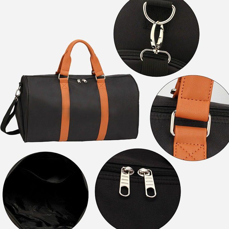 Détails du sac weekend 24h pour homme et femme en toile et en cuir de couleur noir et marron.