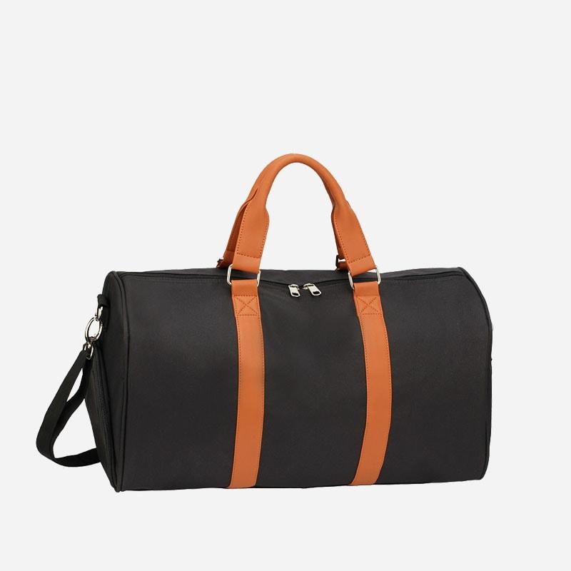 sac-weekend-24h-toile-cuir-noir-marron
