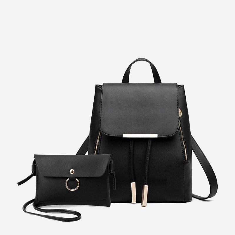 Sac à dos et sac bandoulière en cuir texturé noir avec empiècement de couleur or.