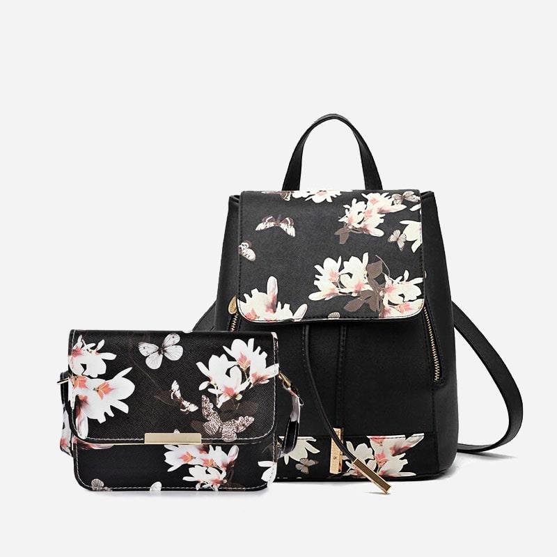 set-sac-a-dos-sac-bandouliere-femme-cuir-noir-fleurs