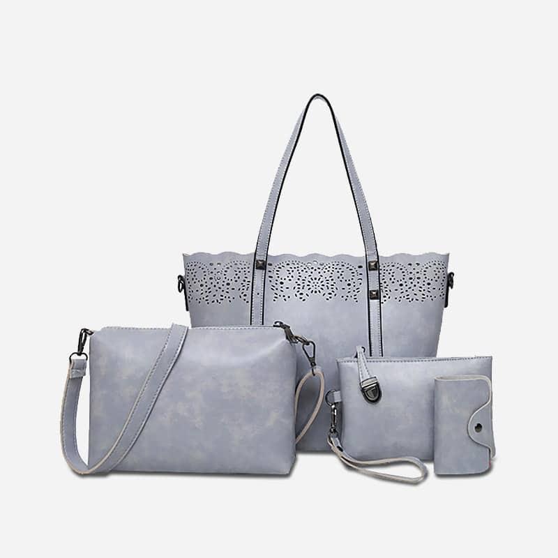 Sac A Main Bandouliere Cuir Gris : Set de sacs cuir pour femme avec petite maroquinerie