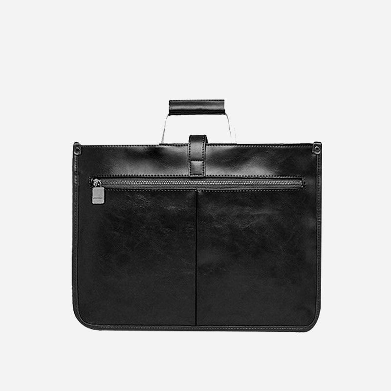 Verso de la sacoche cuir porte-documents pour homme couleur noire.