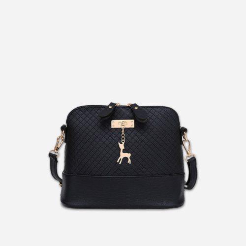 Petit sac à bandoulière en cuir noir pour femme avec des parties dorées. Cerfsbag classic.