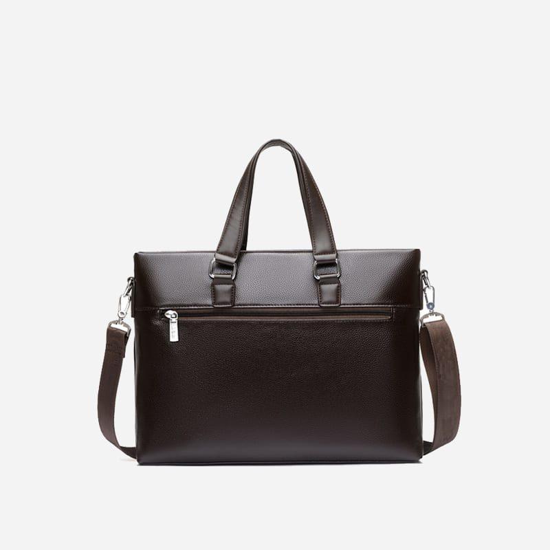 Sac à bandoulière et sac à main en cuir brun et marron pour homme avec plusieurs poches zippées et poches intérieures. Vormbag Design. Sacoche homme de dos (verso).