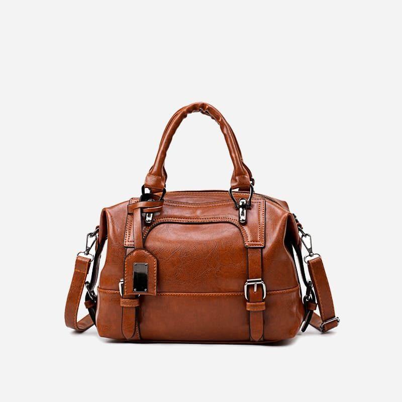 petit sac à main bandoulière pour femme en cuir marron et brun avec bandoulière épaule amovible. Dizbag Classic.