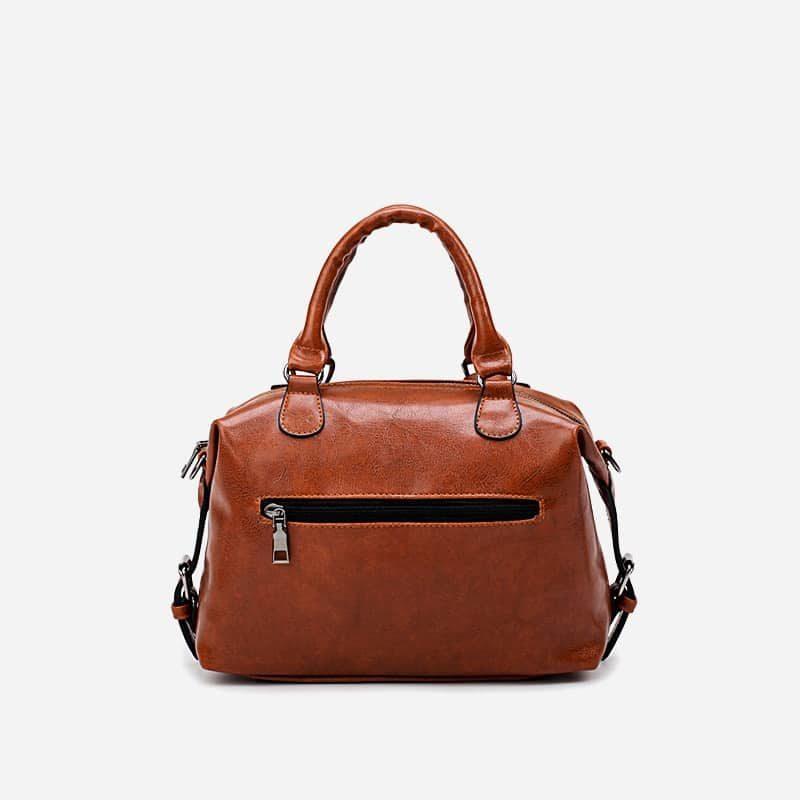 petit sac à main bandoulière pour femme en cuir marron et brun avec bandoulière épaule amovible. Dizbag Classic. Verso.