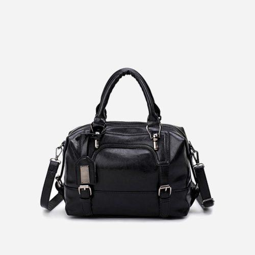 petit sac à main bandoulière pour femme en cuir noir avec bandoulière épaule amovible. Dizbag Classic.