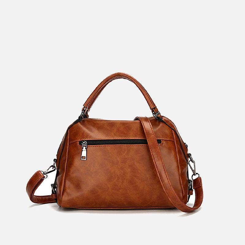 Petit sac à main bandoulière brun pour femme. Verso.