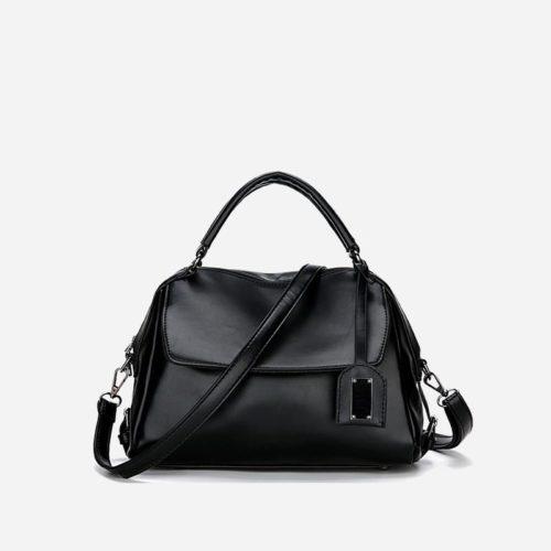 Petit sac à main bandoulière noir pour femme.