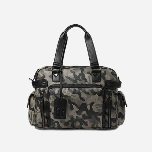 Sac bandoulière pour homme vert militaire camouflage avec poignée pour être utilisé aussi comme sac à main.
