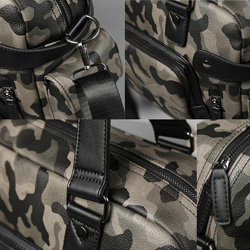 Sac bandoulière pour homme vert militaire camouflage avec poignée pour être utilisé aussi comme sac à main. Détails.