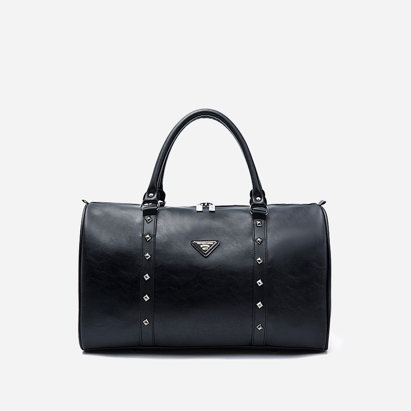 sac voyage 48h et sac weekend en cuir noir clout sac. Black Bedroom Furniture Sets. Home Design Ideas