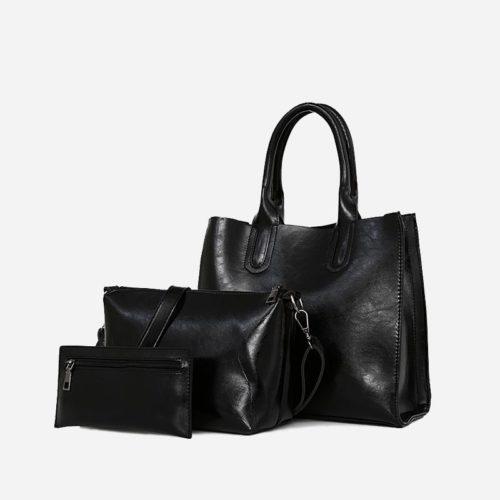 Set de sacs pour femme en cuir noir. Sac à main., sac bandoulière et pochette.