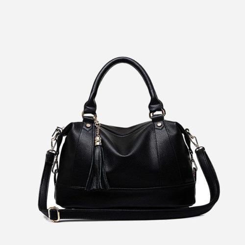 Grand sac à main cuir noir 48h week end avec bandoulière pour femme.