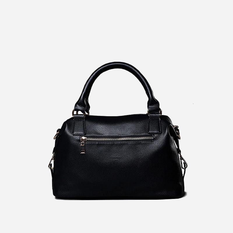 Grand sac à main cuir noir 48h week end avec bandoulière pour femme. Verso.