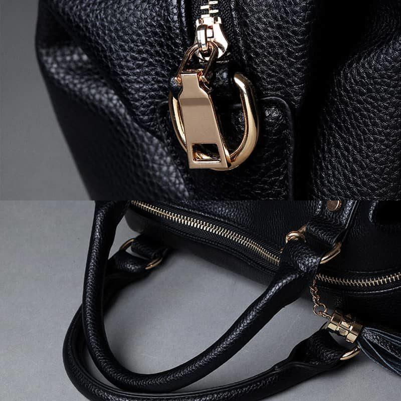 Grand sac à main cuir noir 48h week end avec bandoulière pour femme. Zoom.