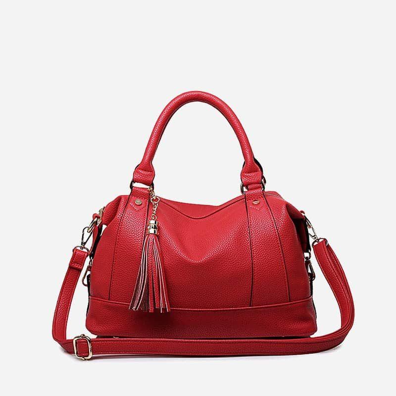 Grand sac à main cuir rouge 48h week end avec bandoulière pour femme.