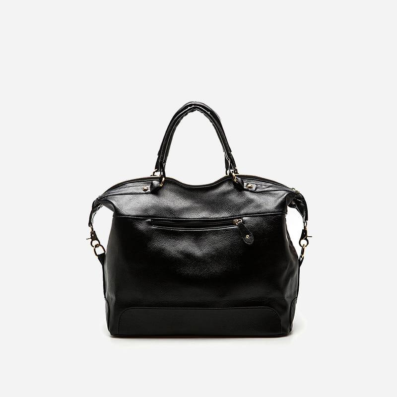 Verso du sac cabas fourre tout en cuir nubuck et suédine noir pour femme.