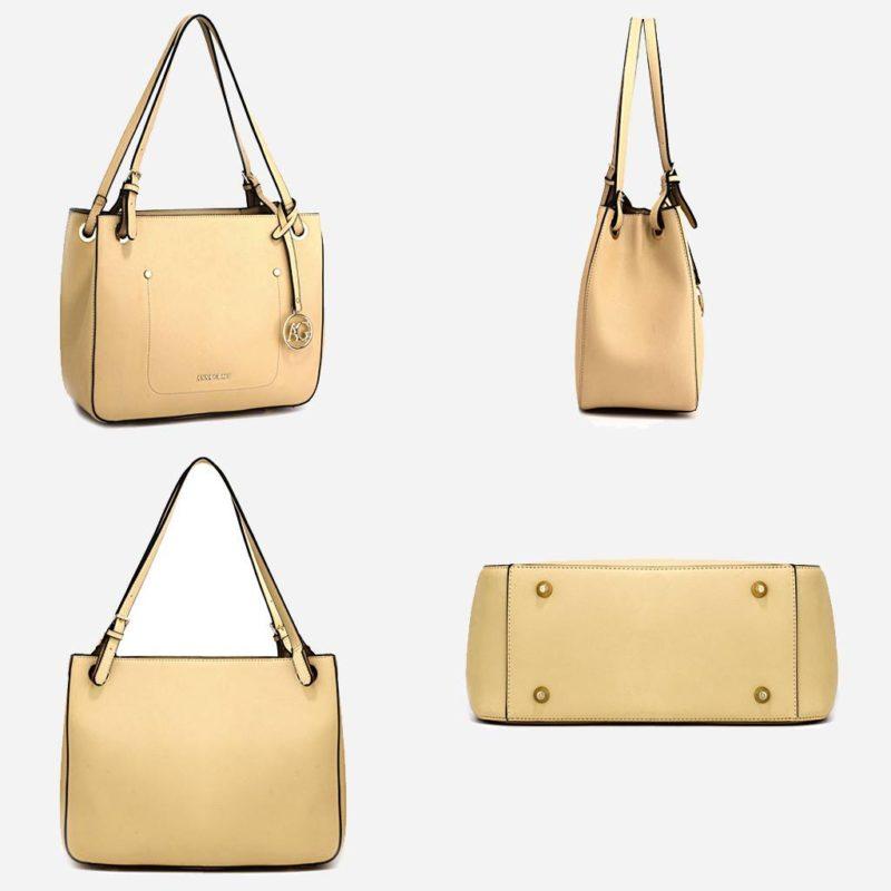 Détails du sac à main cabas pour femme de couleur blanc cassé/crème. Livré avec sa bandoulière.