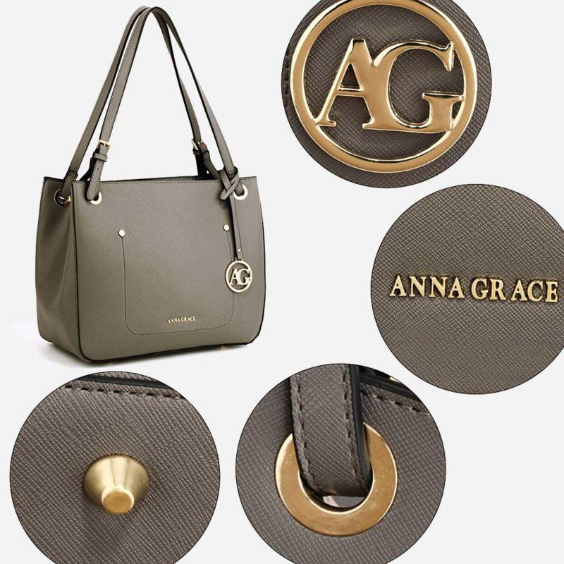 Détails du sac à main cabas pour femme de couleur gris. Livré avec sa bandoulière.