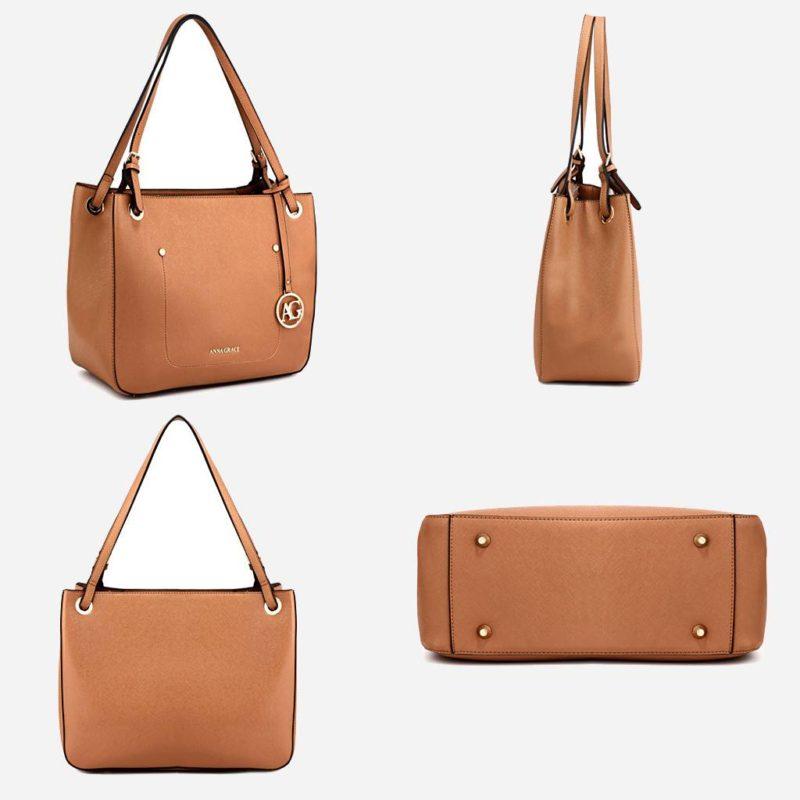 Détails du sac à main cabas pour femme de couleur marron. Livré avec sa bandoulière.