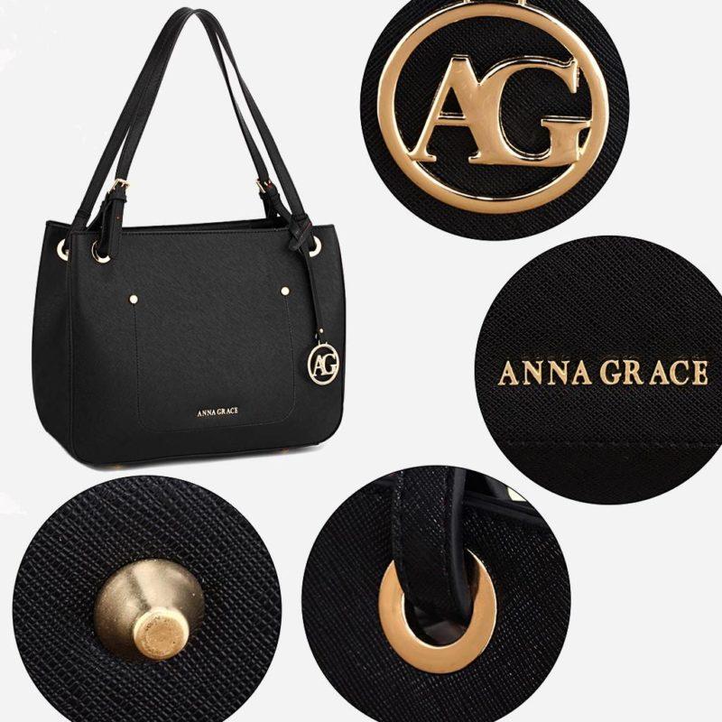 Détails du sac à main cabas pour femme de couleur noir. Livré avec sa bandoulière.