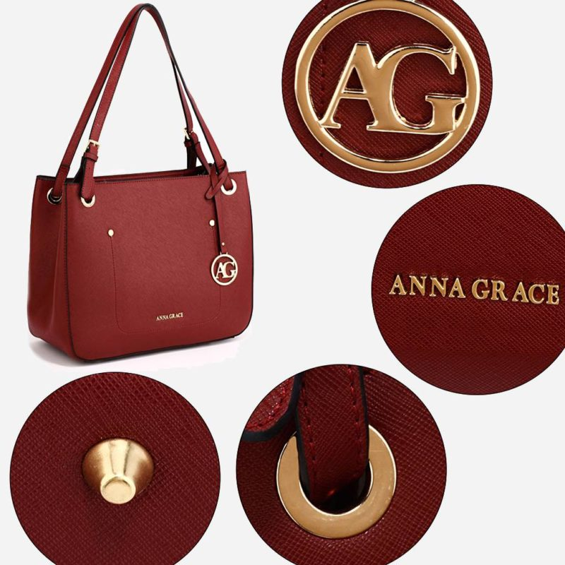 Détails du sac à main cabas pour femme de couleur rouge. Livré avec sa bandoulière.
