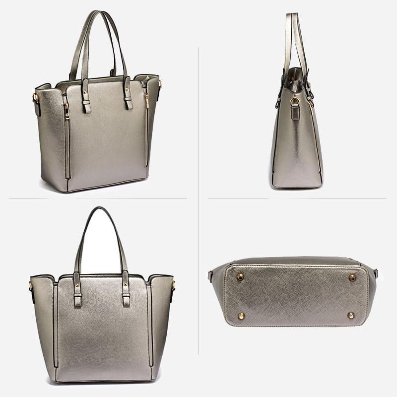 Détails du sac à main bandoulière pour femme en cuir argenté.
